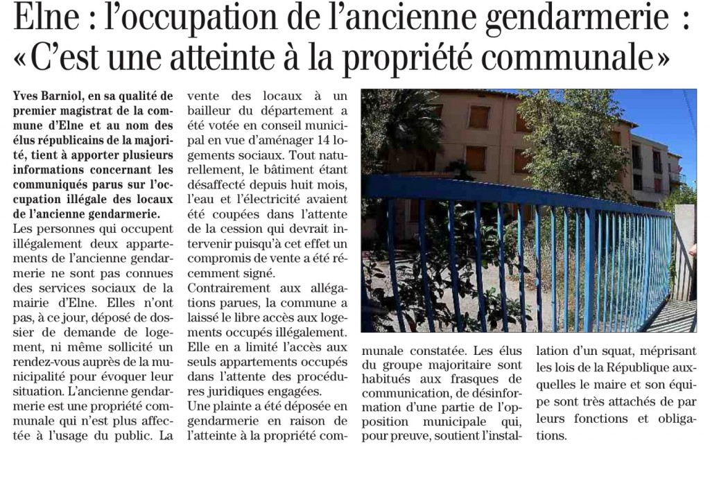 Article Barniol sur occupation ancienne gendarmerie.
