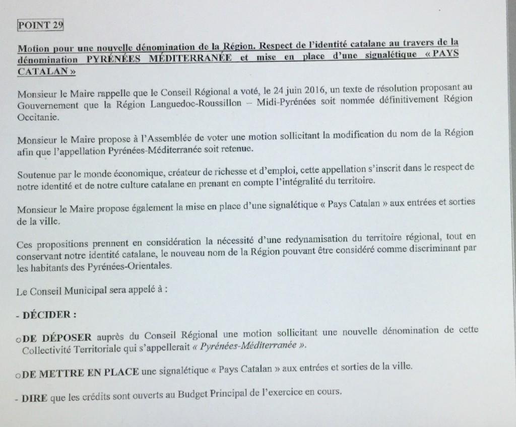 Photo du point 29 de l'ordre du jour du conseil municial d'Elne qui se réuni le mercredi 14 septembre 2016