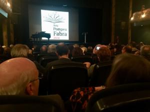 """Mercredi 21 février 2018, lancement de l'année Pompeu Fabra i Poch depuis le teatre Zorrilla de Badalona. La Generalitat de Catalunya célèbre le 150ème anniversaire de la naissance du """"Mestre"""""""